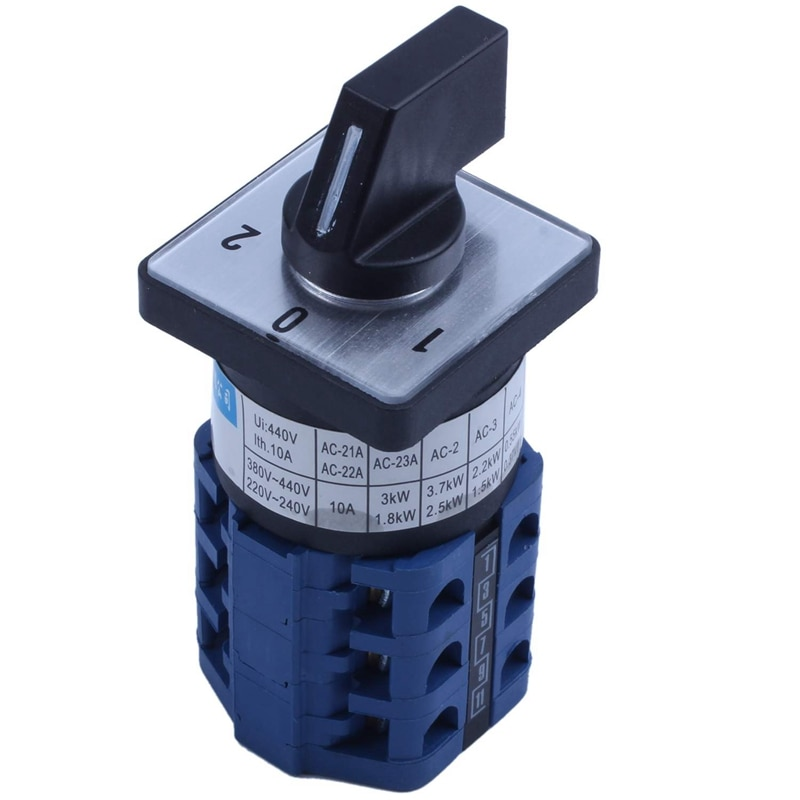 Interruptor de cambio Universal de cámara giratoria de tres polos de 3 posiciones 660V 10A