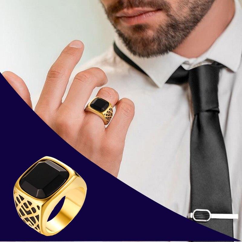 Мужское квадратное кольцо из нержавеющей стали золотого цвета с полудрагоценным камнем, аксессуары для ювелирных изделий