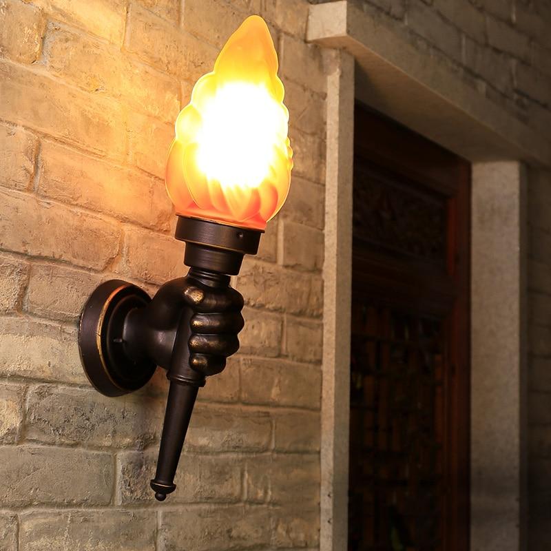 Lámpara de mano creativa para pared, luz exterior para jardín, porche de...
