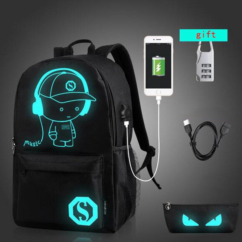 Senkey نمط الرجال على ظهره USB مصمم على ظهره المرأة محمول مدرسة حقائب للمراهقين الكمبيوتر طالب مضيئة حقيبة بنقوش كرتونية