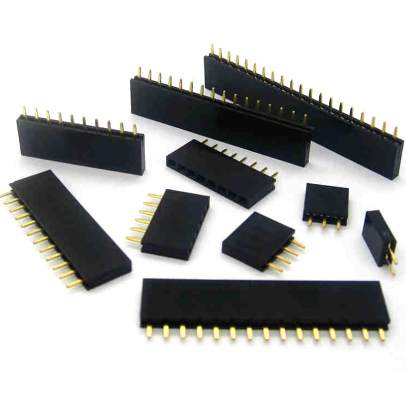Aliexpress - 100pcs Single row female 2.54MM spacing Pin socket female Header Connector 2P 3P 4P 5P 6P 7P 8P 9P 10P 12P 14P 40P