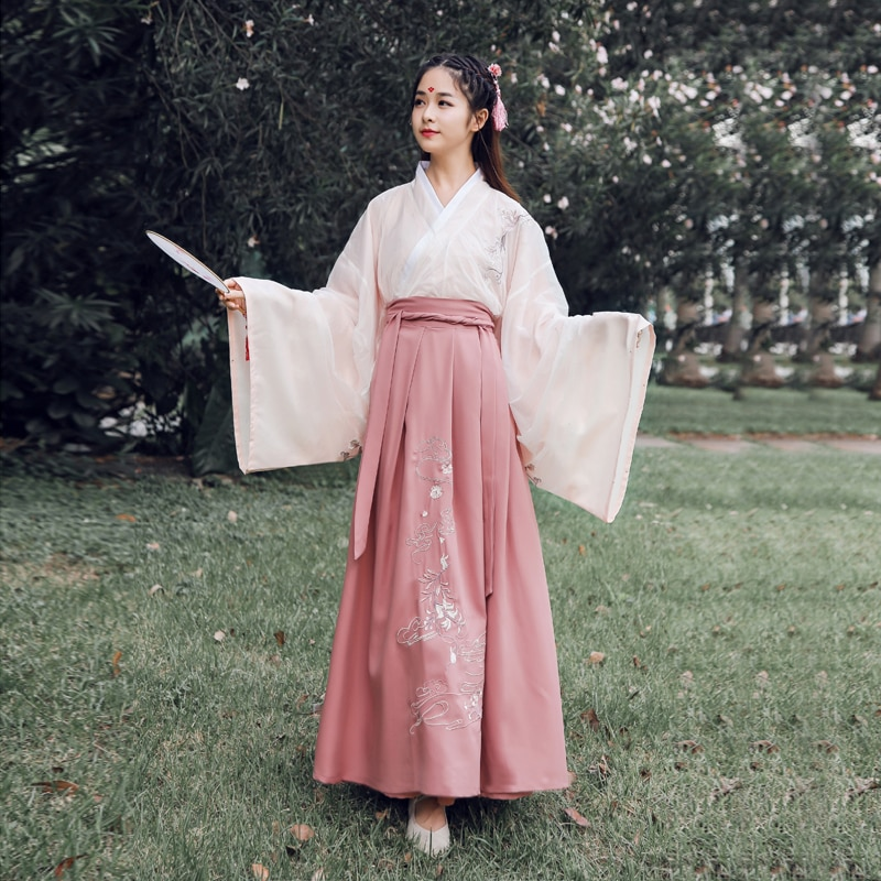 القديمة الصينية زي النساء Hanfu فساتين التقليدية الشعبية الرقص الملابس تانغ سلالة الأميرة التطريز الشعبي الرقص تأثيري