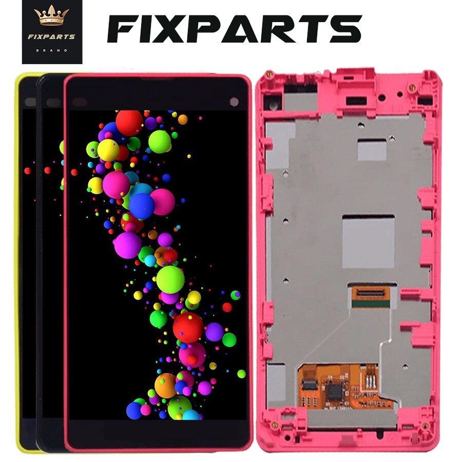 Digitalizador de touchscreen para sony, tela de reposição para sony z1 compact mini d5503 m51 w z1mini, com moldura + ferramentas z1 mini lcd