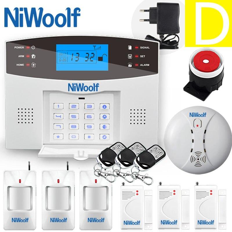 NiWoolf-نظام إنذار لاسلكي لأمن المنزل, جهاز إنذار GSM لاسلكي ، جرس الباب ، لوحة مفاتيح LCD ، كاشف حركة PIR ، جهاز اتصال داخلي