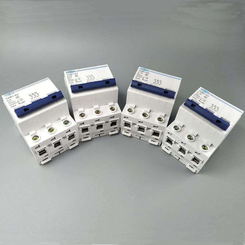 3P AC mcb TOB1-63 C Тип 230/400V ~ 50 HZ/60 HZ Мини автоматический выключатель 3A 6A 10A 16A 20A 25A 32A 40A 50A 63A
