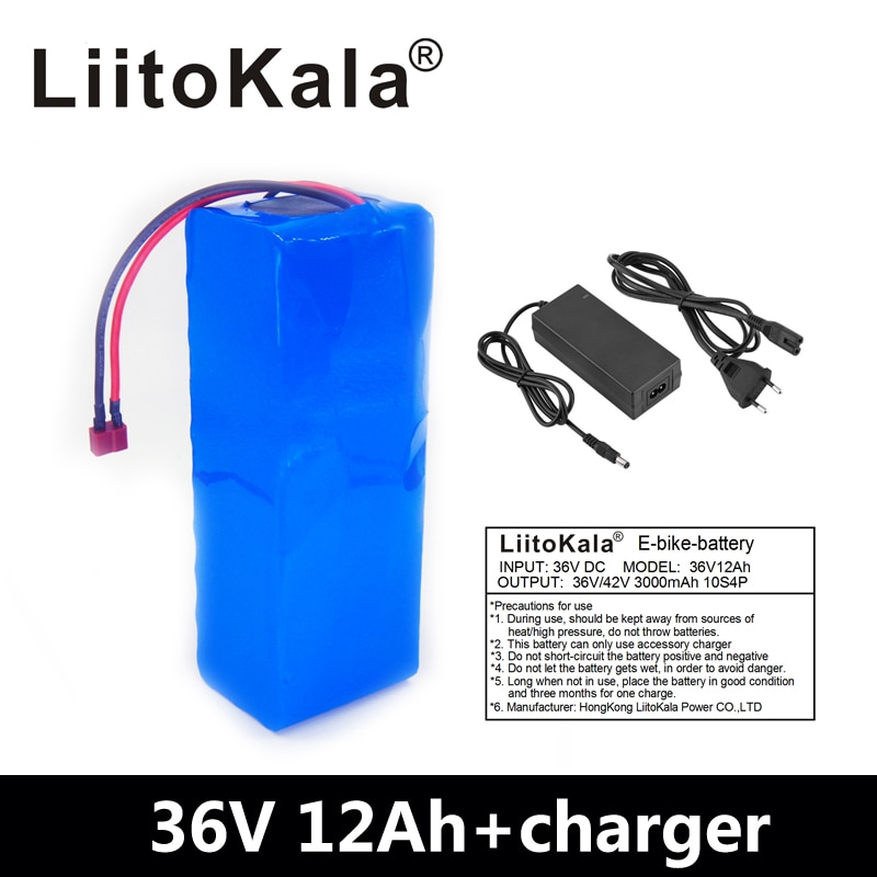 Batería de bicicleta eléctrica LiitoKala 36 V 12AH, paquete de litio BMS de 20a, 36 Voltios con carga de 2A Ebike