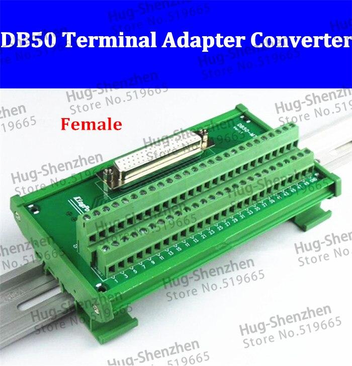 محول DB50 أنثى ، 50 دبوس منفذ din السكك الحديدية ، محول كتلة طرفية ، لوحة دوائر مطبوعة ، 3 صفوف مع غلاف