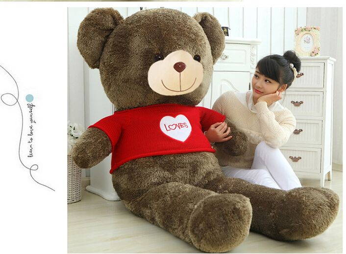 Peluche peluche énorme 150 cm ours en peluche brun avec pull rouge, aime poupée ours doux calin oreiller cadeau de noël b0197