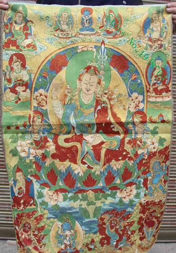 China Tíbet seda bordado Guru Padmasambhava Rinpoche Thangka pintura Mural 36 pulgadas-8442