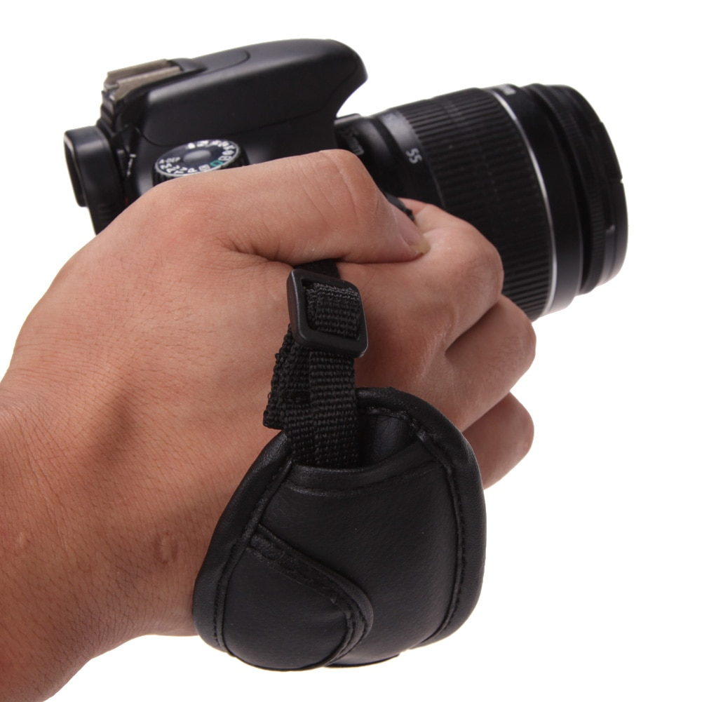 Correa de mano negra para cámara, correa de mano de cuero PU para cámara Dslr para Sony Olympus Nikon Canon EOS D800 D7000 D5100 D3200