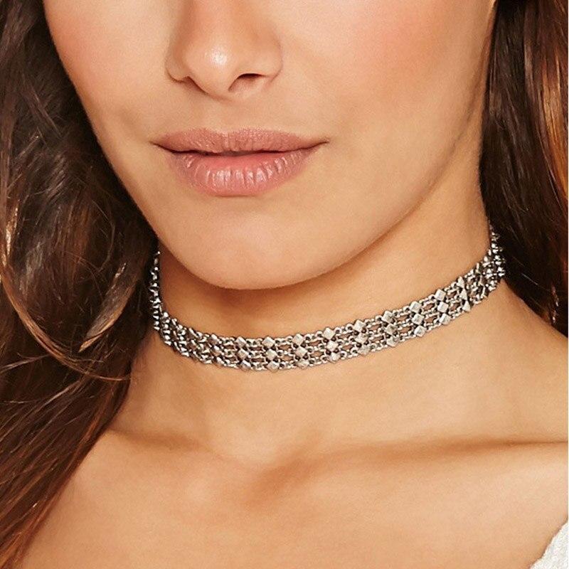 Женские многослойные Чокеры в стиле «Бохо», короткие ожерелья с квадратным плетением и античным серебристым покрытием