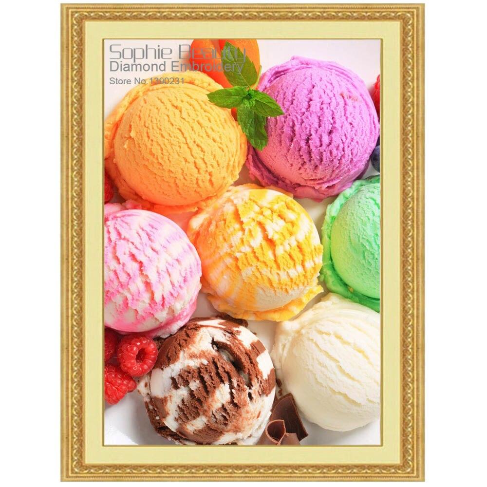 Peinture à ldiamant bricolage point de croix   Couture en cristal gâteaux glaces, aliments carré broderie diamant, décor mural de maison