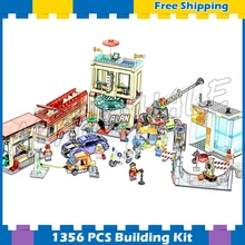1356pcs Downtown Capital City Square Museum Hotel 02114 Model Buliding Blocks Children Kids Bricks Compatible With Lago