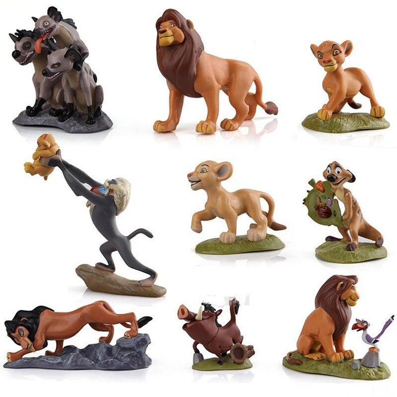 1 Set The Lion King Action Figure Giocattoli Simba Mufasa Sarabi Taka/Cicatrice Zazu Pumbaa Hyenas Il Re Leone torta Figures Giocattoli Per Bambini