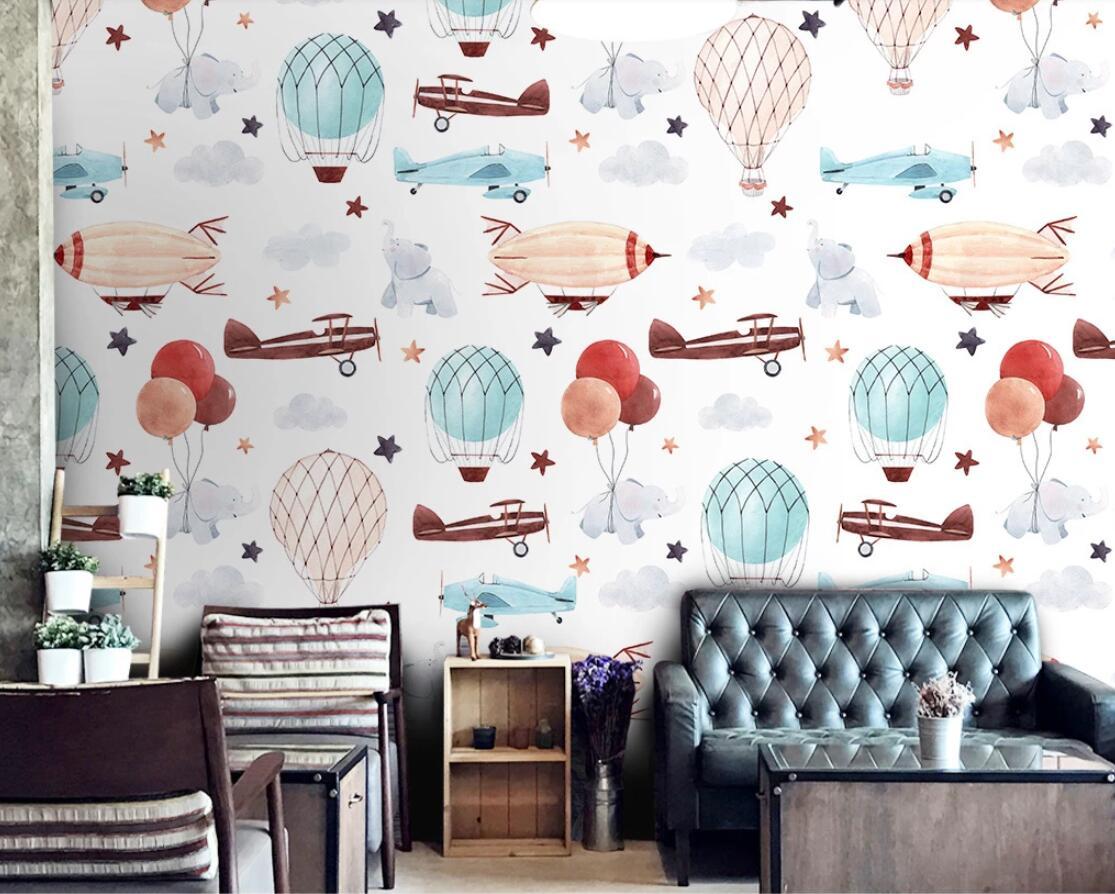 Papel tapiz de avión de cartón nórdico creativo Mural 3D para dormitorio infantil papel de Contacto 3d foto abstracta papel de pared avión decoración de pared