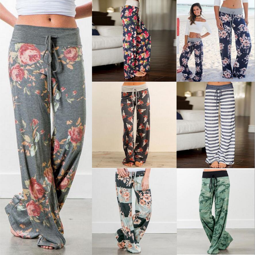 New Spring 2019 Causal Women Pants Printed Drawstring High Waist Straight Women Loose Pants Plus Size Ladies Long Trousers S-3XL