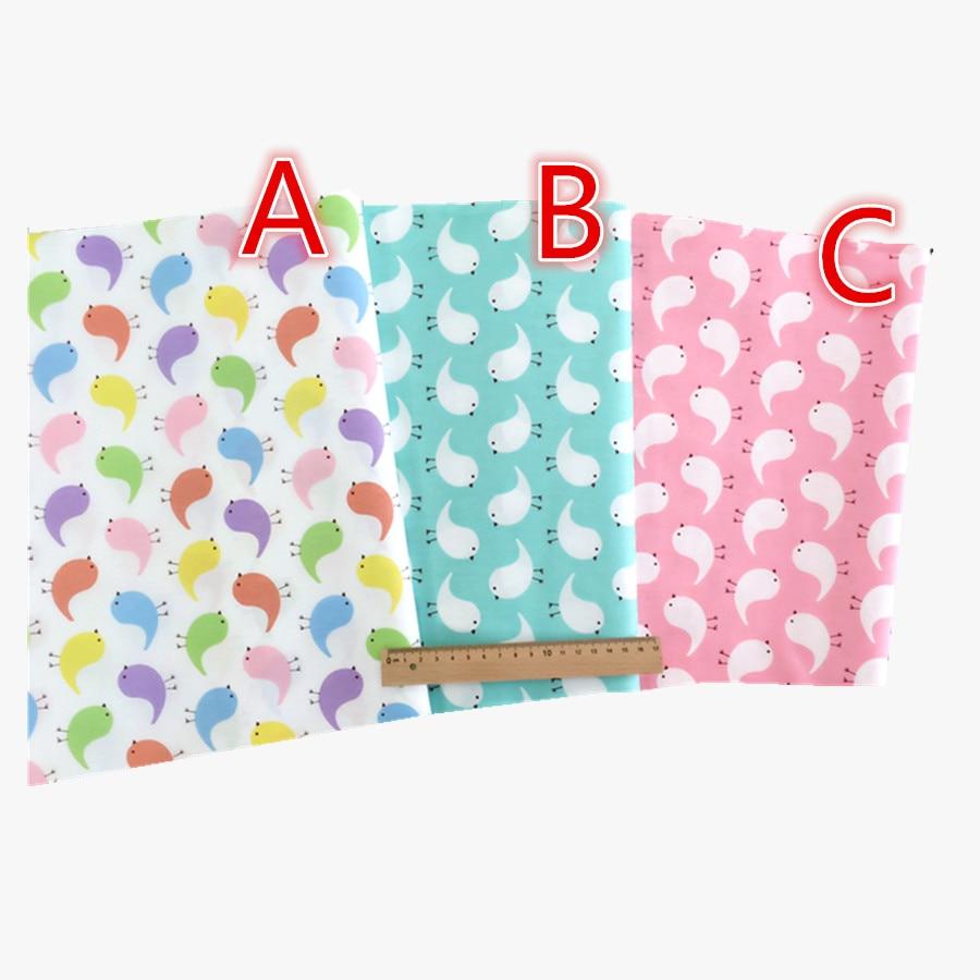 50*160cm  CottonThree color bird Fabric Meter Diy Handmade Sewing Tissue Telas Para Patchwork Quilting Textiles