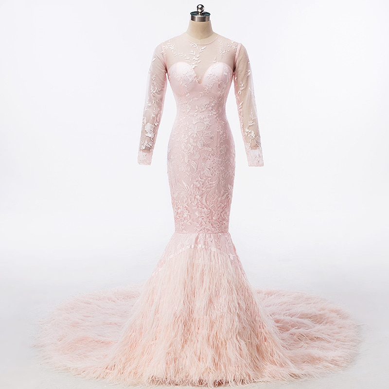 Luxo puro rosa bordado avestruz pena longo vestidos de noite sexy manga longa sereia dubai formal vestido de baile de formatura vestidos de festa