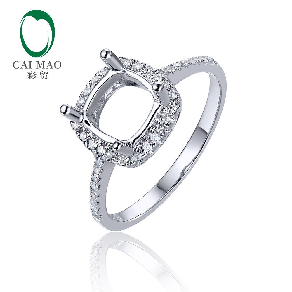 Caimao anillo Halo 7mm amortiguador corte sólido 14k oro blanco Natural Pave Set H SI diamante Semi montaje configuración
