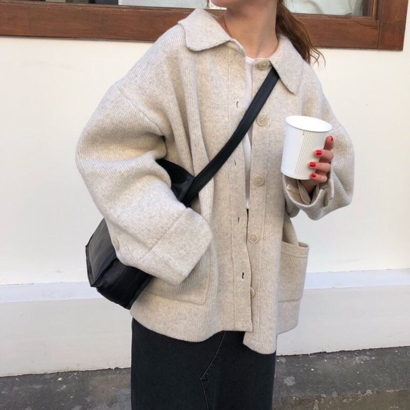 Mujeres Otoño Invierno Tops camisa suéter Mujer Vintage chica Harajuku Shcool prendas de vestir exteriores bolsillo tejido Cardigan abrigo Mujer