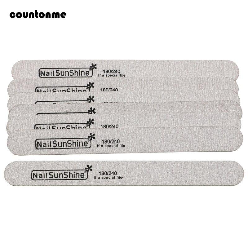 10 Uds lima de uñas de madera almohadilla para pulir bloque limas para manicura papel de lija 180/240 herramienta de Arte de uñas barra gruesa recta