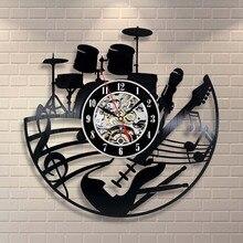 Horloge murale avec disque vinyle en 3D   CD, Design moderne, Pow pat, guitare, batterie, musique, Vintage, montre devinette, mécanisme
