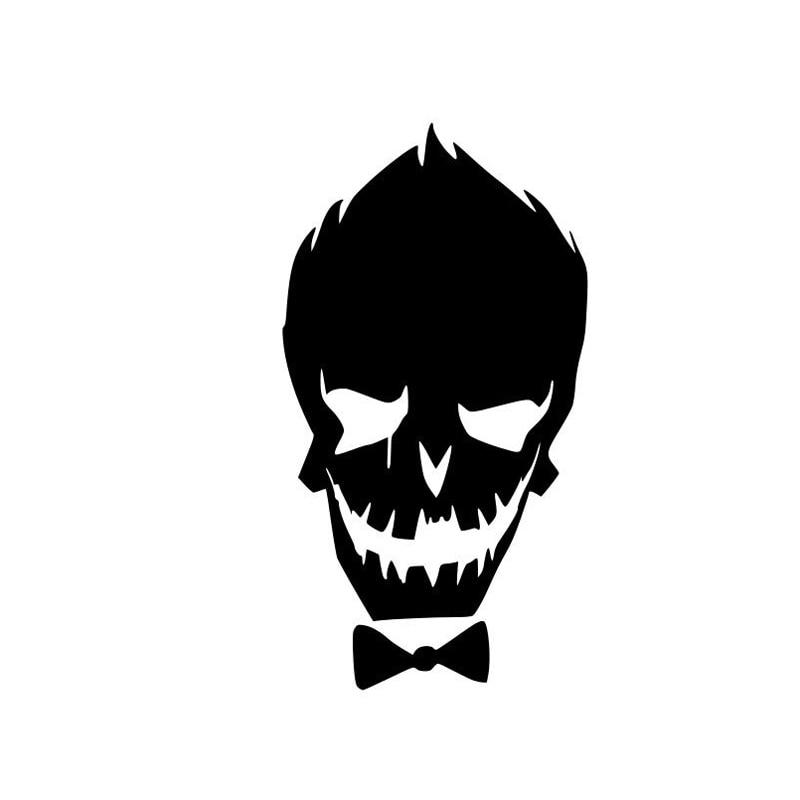 Pegatinas de vinilo de moda Joker suicida de 8,8 cm * 16,2 cm, pegatinas de estilo de coche negro/plata S3-5670