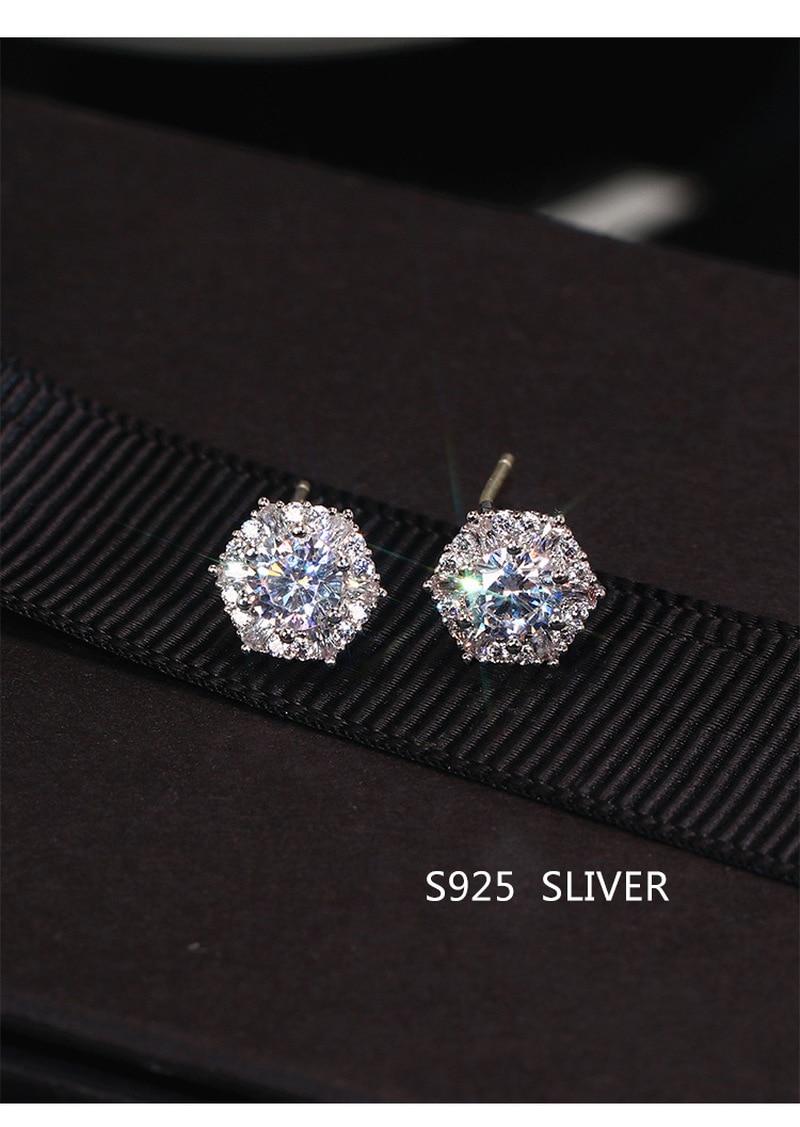 S925 sterling silver warna sederhana bulat bling zirkon batu anting - Perhiasan fesyen - Foto 5
