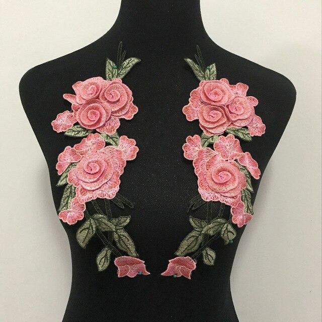2 uds/1 par bordado Rosa flor coser en el vestido de parches sombrero bolsa Jeans apliques manualidades o Ropa Accesorios DIY Hotfix parches para Vaqueros