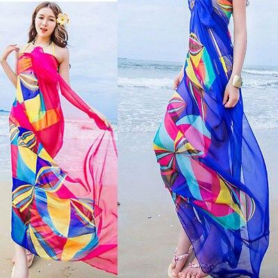 Womens Chiffon Wrap Pareo Sarong Dress Bikini Scarf Beach Bikini Swimwear Cover Up Scarf 200x150cm