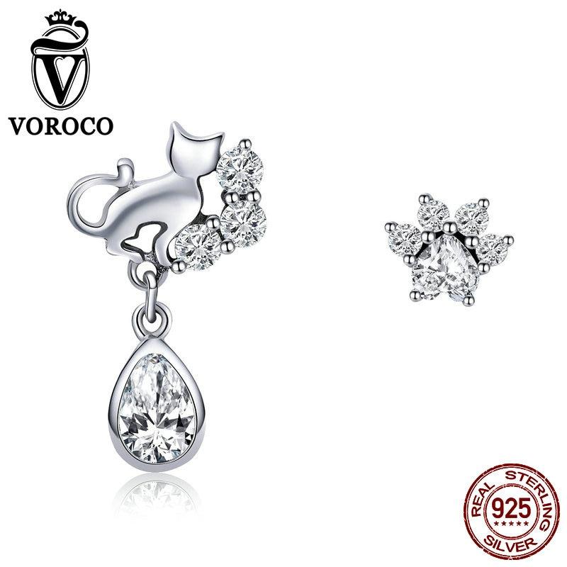 Voroco real 100% 925 prata esterlina bonito gato & cachorro pegadas parafuso prisioneiro brinco para a mulher menina cristal claro festa jóias finas bke424