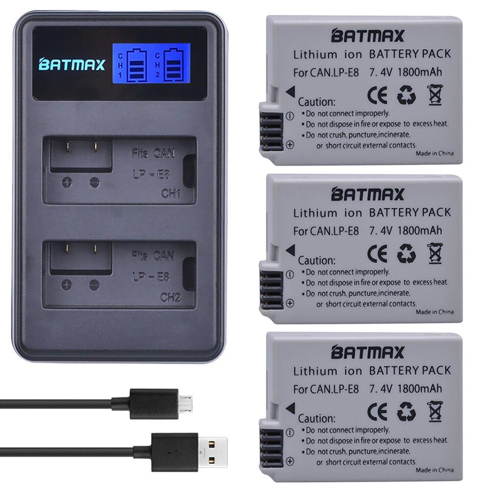 3Pcs 1800mah LP-E8 LPE8 LP E8 Battery Batterie+ USB LCD Dual Charger for Canon EOS 550D 600D 650D 700D X4 X5 X6i X7i T2i T3i