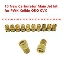 Jet principal pour injecteurs de carburateur PWK Keihin OKO CVK 100, 105, 108, 110, 115, 120, 125, 130, 135, 140 (jeu de 10 pièces)
