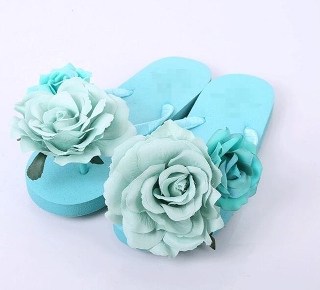 HAHA BLUME Sommer frauen Sandalen Neue Schuhe Frau Flip-Flops Blau Rose Blume Sandalen Strand Hausschuhe Flache schuhe