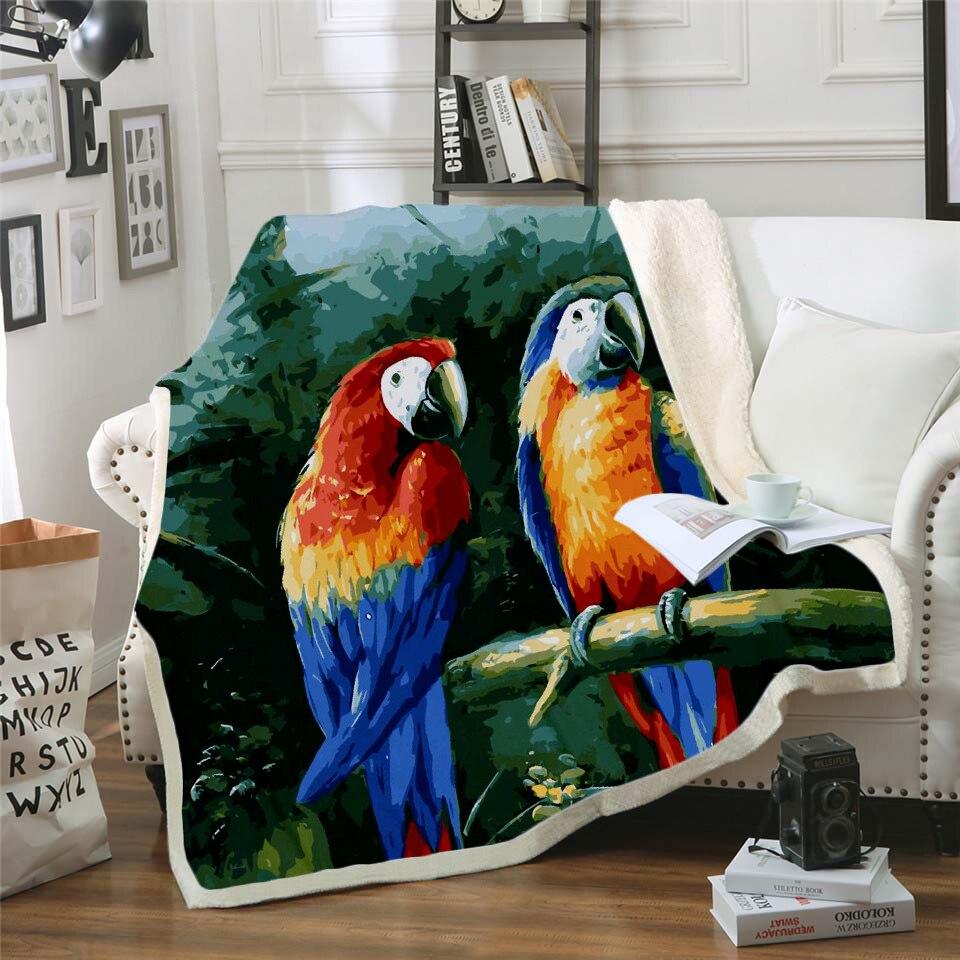 Manta colorida con diseño de loro en 3D de Plstar Cosmos, manta con estampado de Sherpa para niños, niñas, flores, Textiles para el hogar, estilo de ensueño-10