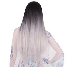 Feilimei Ombre Cosplay peruk sentetik uzun düz saç pembe mavi mor gri sarışın siyah renkli 24 inç 280g peruk