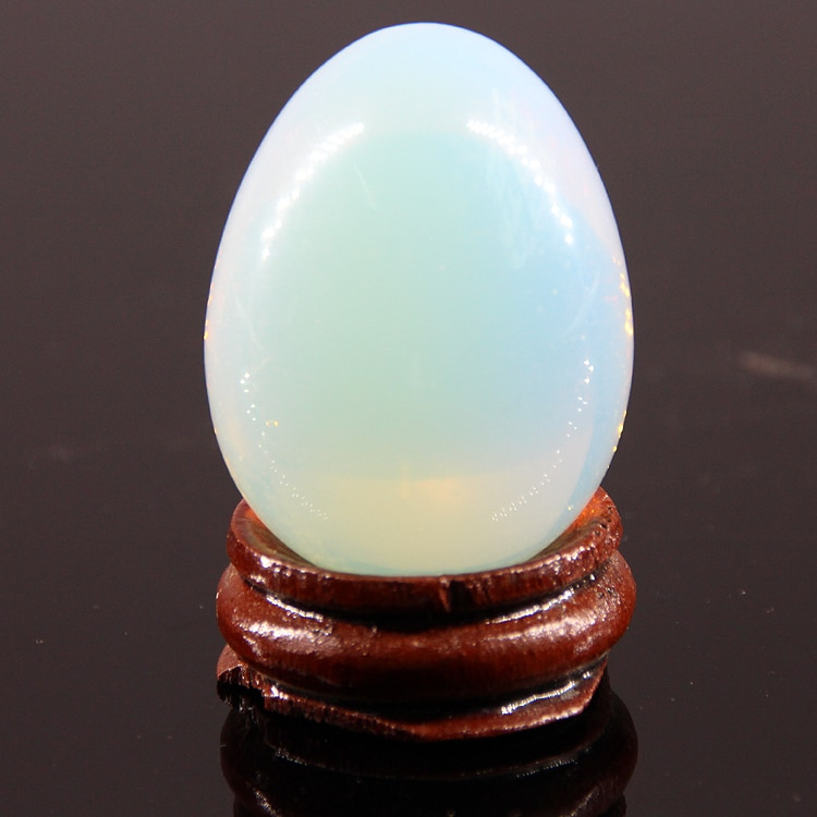 2015 40*30mm Opal quartz lemon stone jasper Eggs With wood stand Natural Gemstone Bell Chakra Healing Reiki Stone Carved Crafts