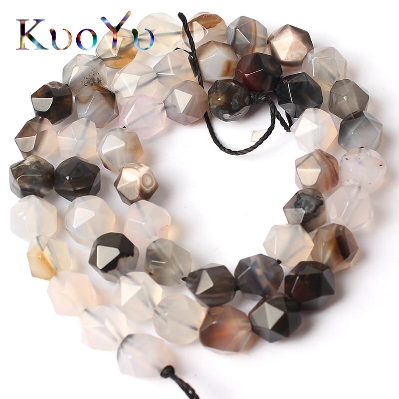 Faceteadas naturales, cuentas de ágata blancas y grises, cuentas de piedra sueltas para hacer joyas de 15 pulgadas, pulseras DIY de 6/8/10 MM, collar de joyería