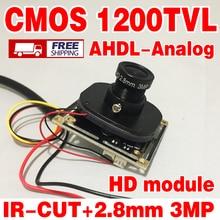 Echt 1200TVL HD Farbe 1/4CMOS FH8510 + 3006 Analog 960P cvbs Fertig Monitor chip modul 2,8mm Weitwinkel 3,0 mp objektiv ir-cut kabel