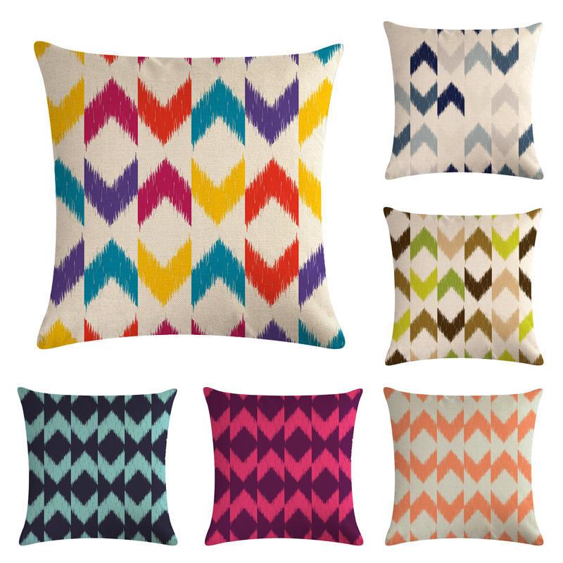 Funda de almohada de tira colorida 45x45 cm funda de cojín de Arte de estilo borroso decoración del hogar funda de almohada para sofá
