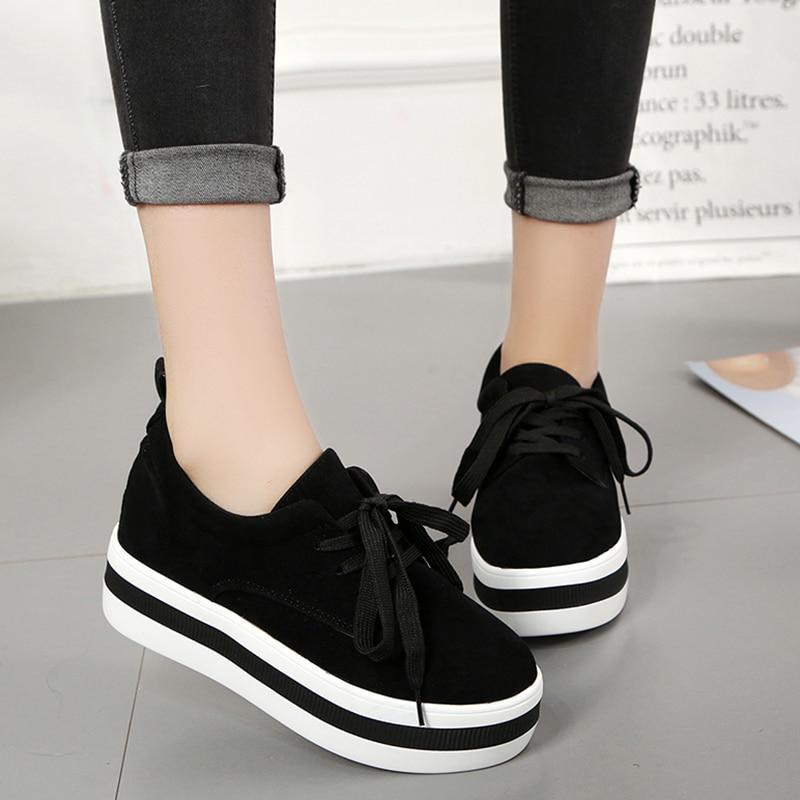 Zapatos de plataforma plana de encaje de otoño para mujer EOEODOIT, zapatos de tacón medio de punta redonda, zapatos de aumento de altura, tacón plano, tacones de plataforma y ascensor