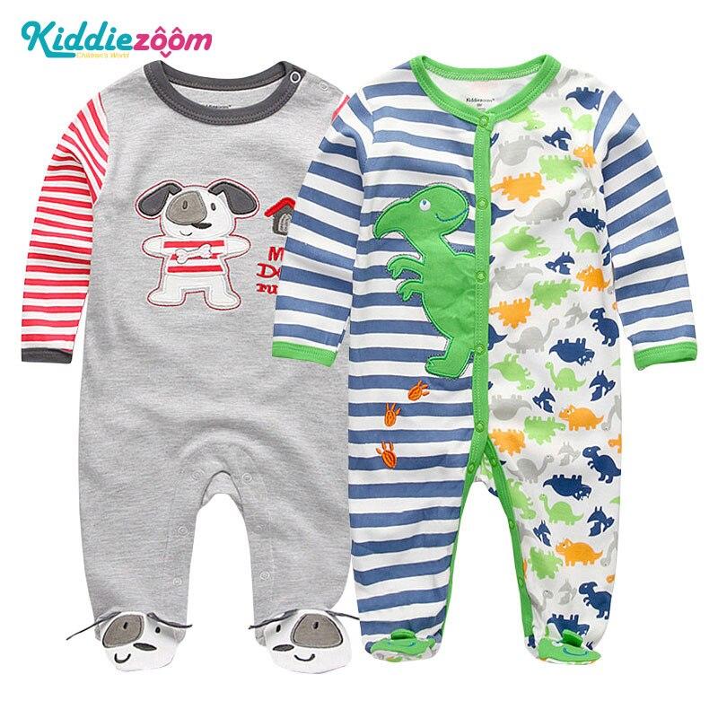 Maluch nowonarodzone dziecko chłopcy i dziewczęta Footies moda 100% strój bawełniany Unisex 3 6 9 12 miesięcy Kid odzież kostium kreskówkowy ropa bebe
