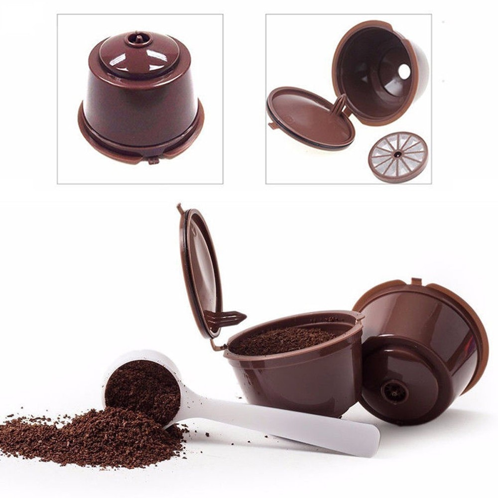 2 uds cápsulas de café reutilizables tazas de café filtro inferior pequeño agujero plástico no tóxico Nespresso máquina de café filtros
