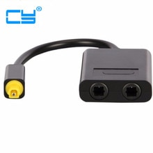 Dual Port Toslink Digital Optical Audio Splitter Adapter Fiber Optic Audio Cable 1 In 2 Out Black Co