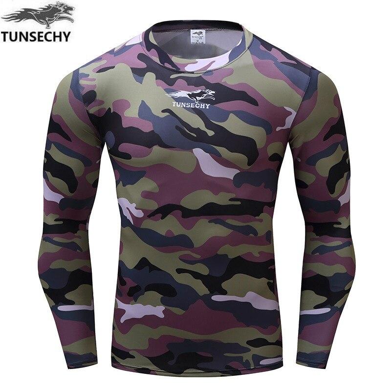 Camiseta de manga larga tunséchy para hombre, ropa para gimnasios, compresión de Fitness, para hombre, camiseta para absorber el sudor, camisetas de secado rápido