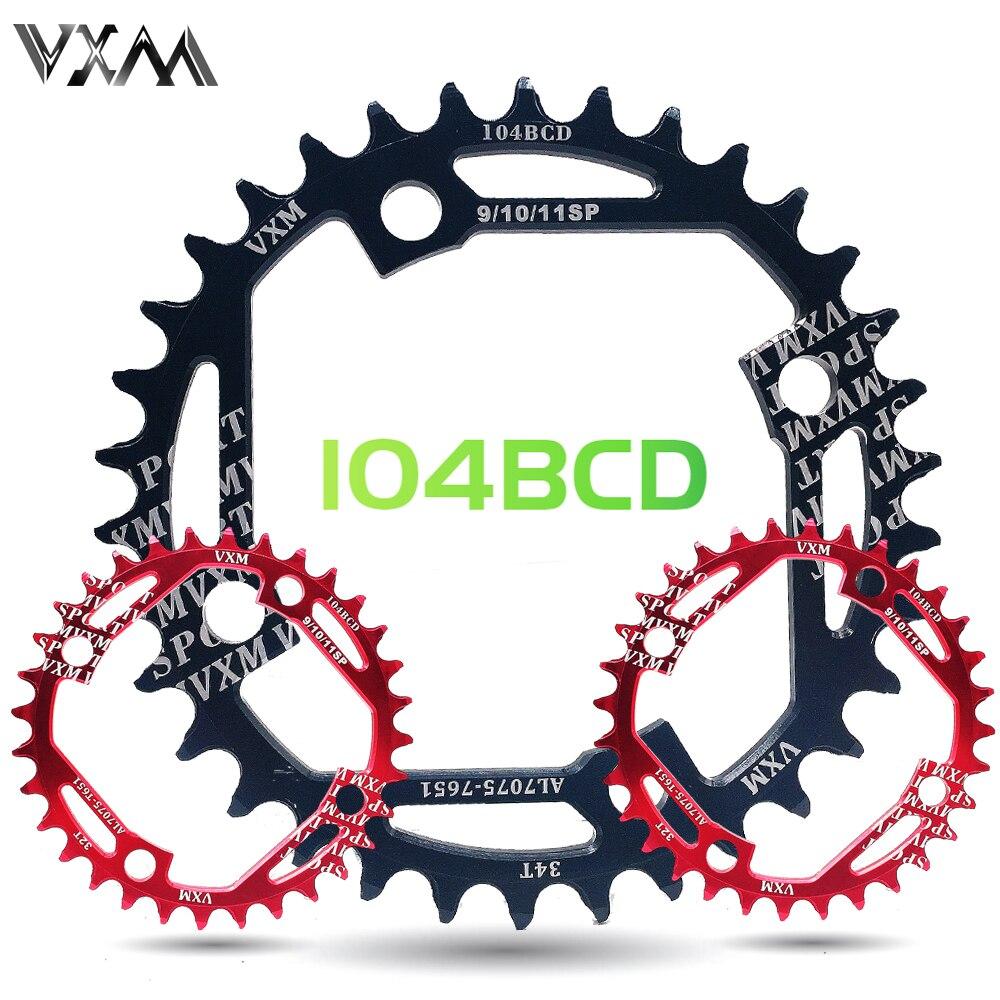 VXM cadena ancha y estrecha redonda MTB bicicleta nuevo diseño hueco ultraligero 104BCD 32T 34T Chainwheel 7075-T6 círculo Placa de bielas