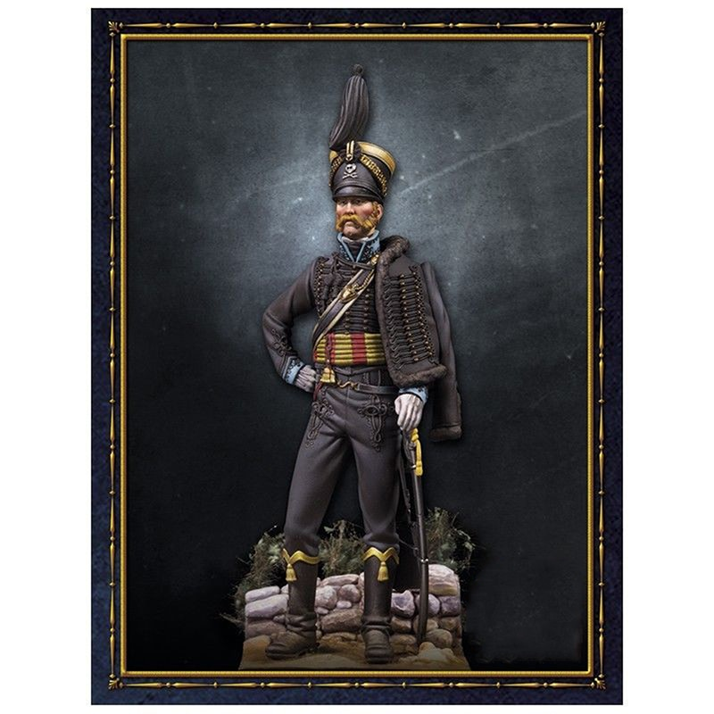 Unpainted Kit 1/24 75mm  Hussar Officer Brunswick winter   Resin Figure miniature garage kit