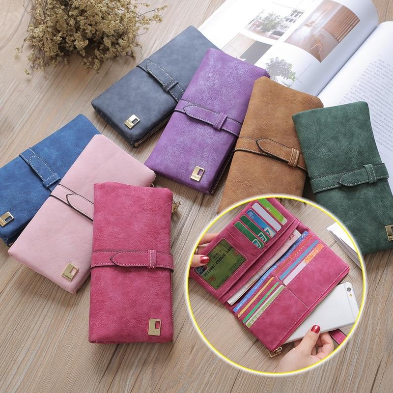 Women Brand Wallets Scrub Leather Lady Purses High Quality Ladies Clutch Wallet Long Female Bag Carteira Feminina