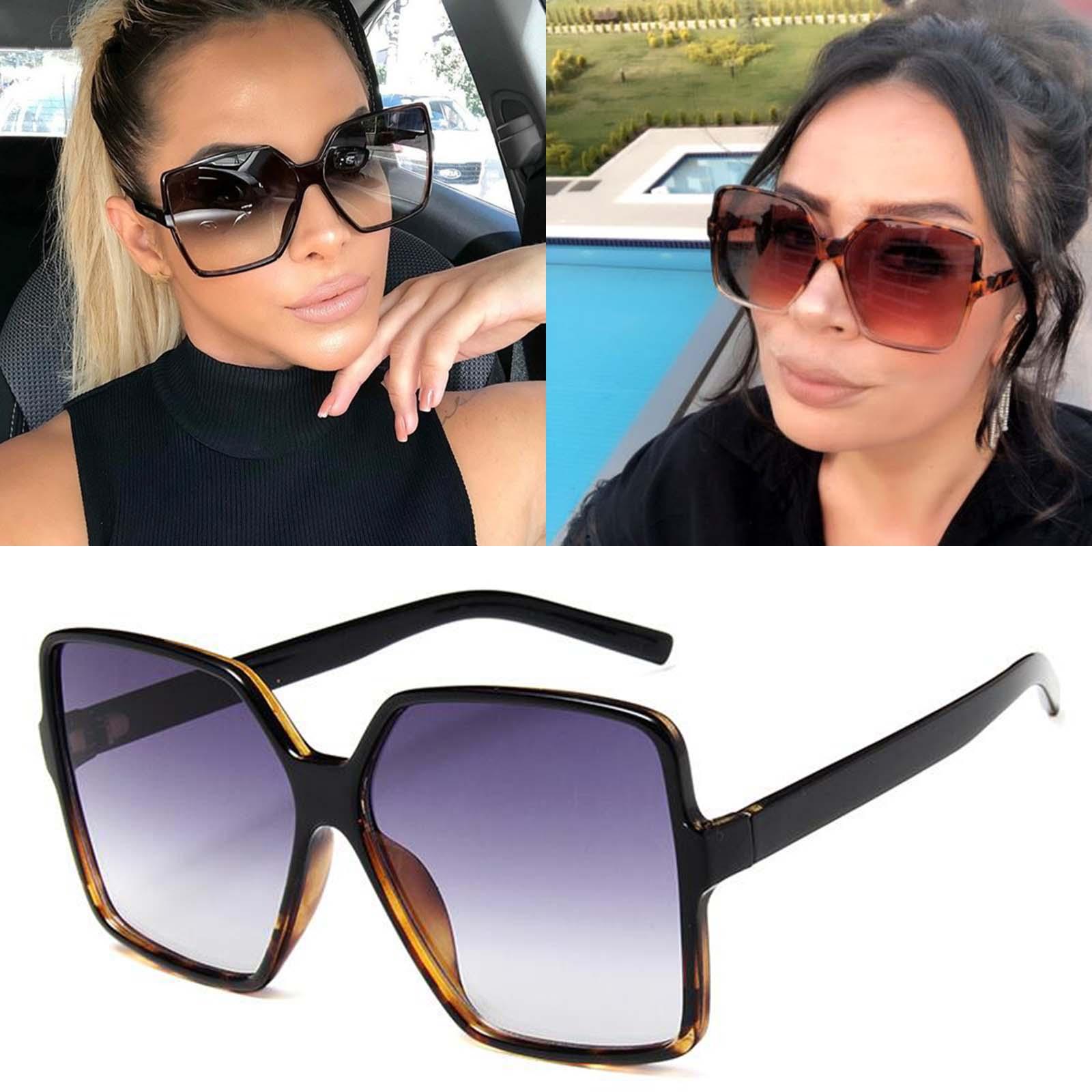 Fashion Women Oversize Sunglasses Gradient Plastic Brand Designer Female Sun Glasses Uv400