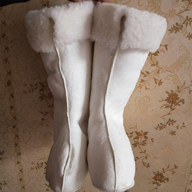Chegada nova lady natural fur meias 100% lã de ovelha tosquiada pele grossa quente piso yuga macio sapato meia muçulmano